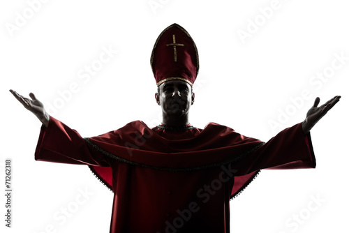 Obraz na płótnie man cardinal bishop silhouette saluting blessing