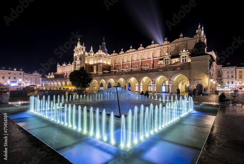 Fountain and Cloth hall in Krakow, Poland