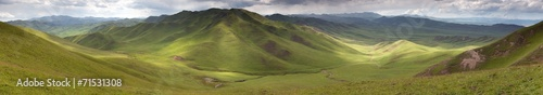 Fotografie, Obraz Panaramic view of green mountains - East Tibet