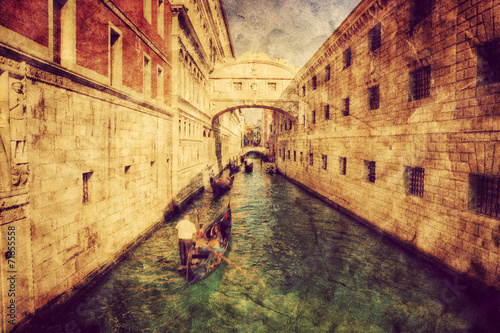 Venice, Italy. Bridge of Sighs and gondola. Vintage art
