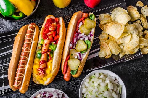 Obraz na plátně All beef dogs, variantion of hot dogs