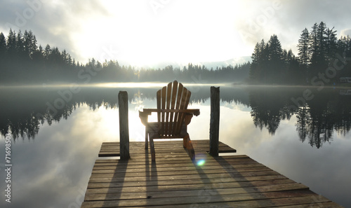 Stampa su Tela Chair on Dock at Alice Lake in Late Afternoon