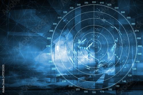 Canvas Print Modern ship radar digital screen above blue abstract background