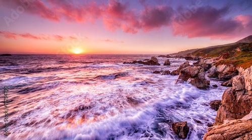 Beautiful sunset over California coast #71754790