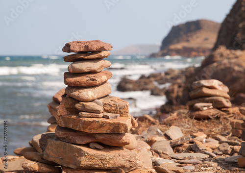 Fototapeta premium Stos kamieni na plaży Pregonda