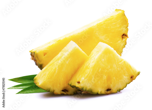 Ripe pineapple with leaf.