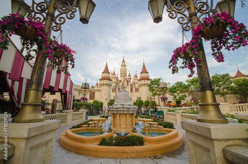 Fototapeta premium piękny zamek w Universal Studios w Singapurze.