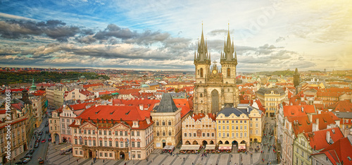 Widok na stare miasto Praga,Czechy.
