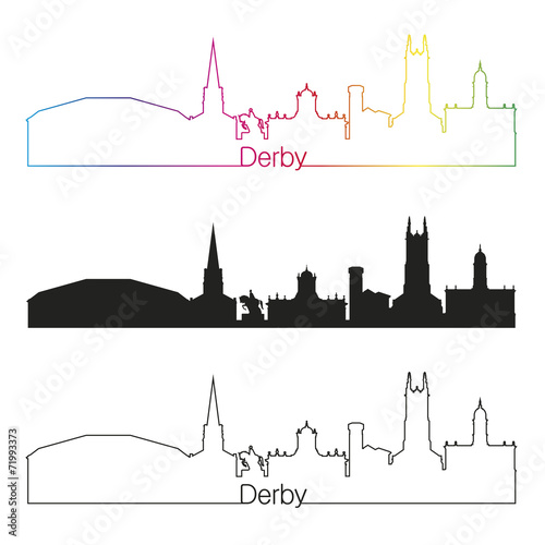 Photographie Derby skyline linear style with rainbow