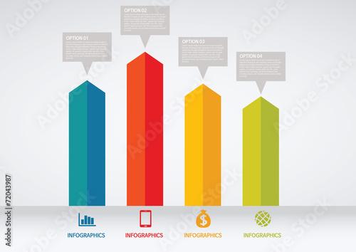 Photo info graphics - colorful graph, square pillar
