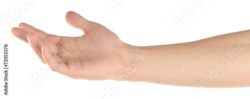 Photo Man hand hold something isolated on white