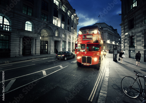 Canvas Print old bus on street of London