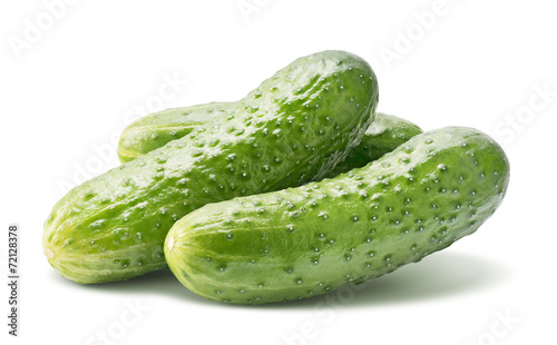 Middle size cucumbers isolated on white