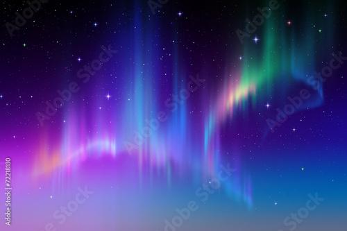 Zorza Borealis w gwiaździstym polarnym niebie, ilustracja