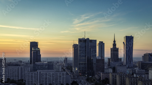 Warsaw Downtown sunrise aerial view, Poland #72344751
