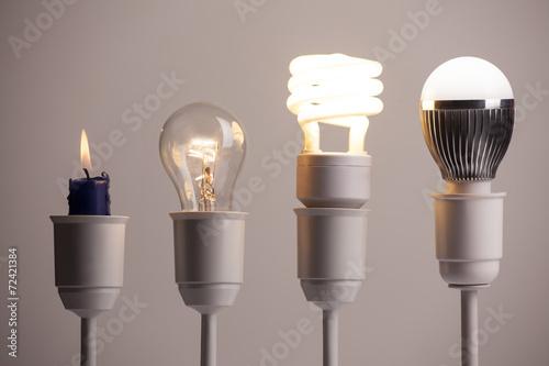 Obraz na plátně Pokrok osvětlení s svíčkou, žárovka, zářivka a LED
