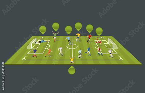Soccer players kicking ball on the field. Football players. Fototapeta