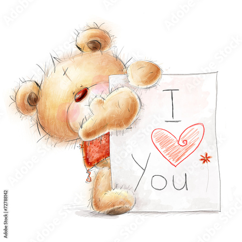 Teddy bear with the big paper with the text.Love design. #72788142