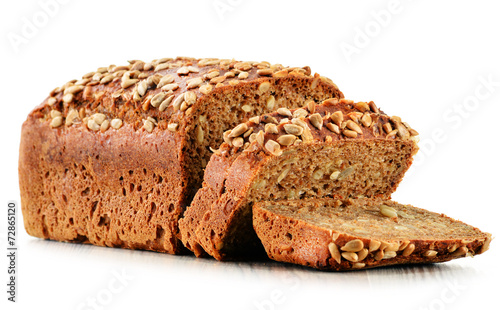 Fotografia Loaf of bread isolated on white background