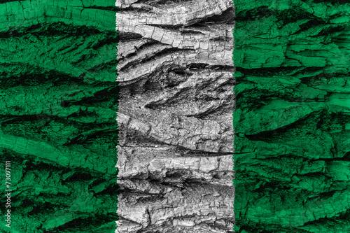 Nigeria national flag painted wooden bark tree #73097111