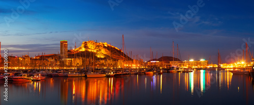 Valokuva Panorama of port with yachts  in night. Alicante