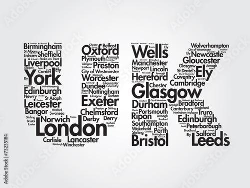 United Kingdom words cloud, cities, travel, agency logotype #73235184