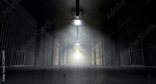 Korytarz i komórki więzienia