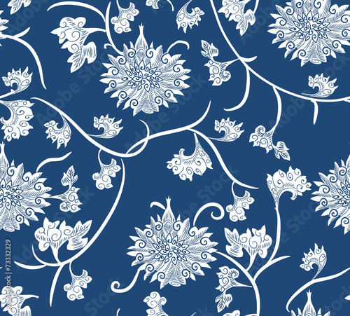 seamless repeat hand made china pattern Fototapeta