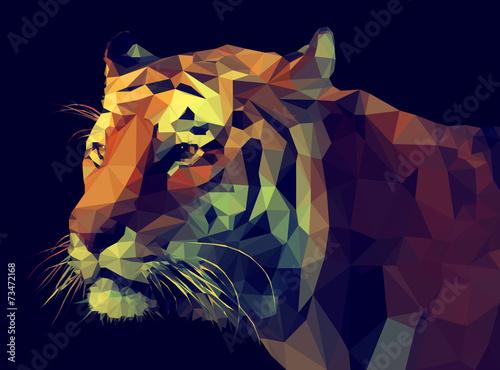 Fototapeta Low Poly Vector Tiger