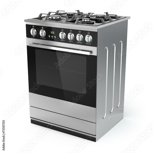 Tablou Canvas Stainless steel gas cooker with oven isolated on white.