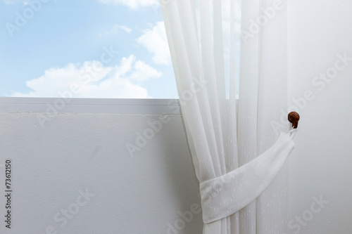 white curtain on the window with blue sky #73612150