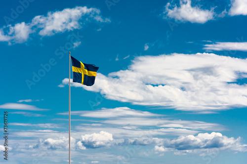 Wallpaper Mural Swedish flag on sky background