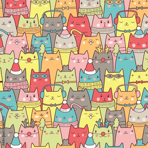 Boże Narodzenie koty wzór