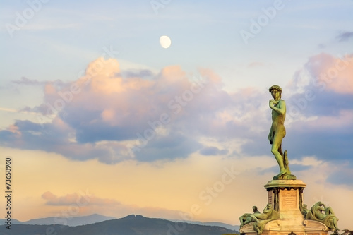 Canvas Print Piazzale Donatello square full moon sunset clouds