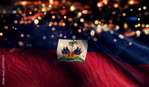 Obraz na plátně Haiti National Flag Light Night Bokeh Abstract Background