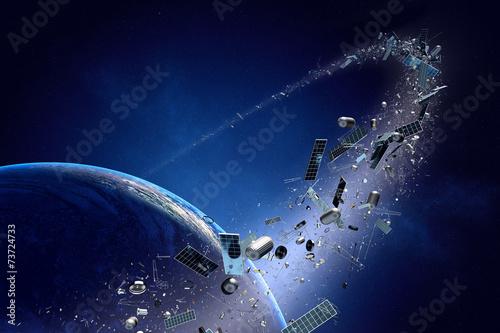 Space junk (pollution) orbiting earth Fototapeta