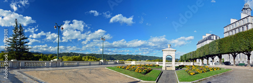 Panorama of fountain place of Boulevard of Pyrenees in Pau Poster Mural XXL