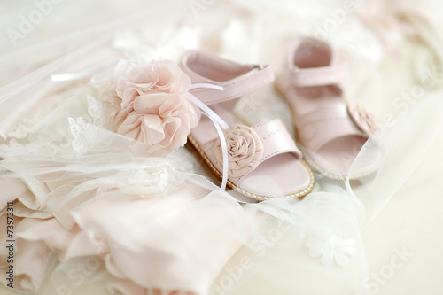 Baby girl christening shoes Fotobehang