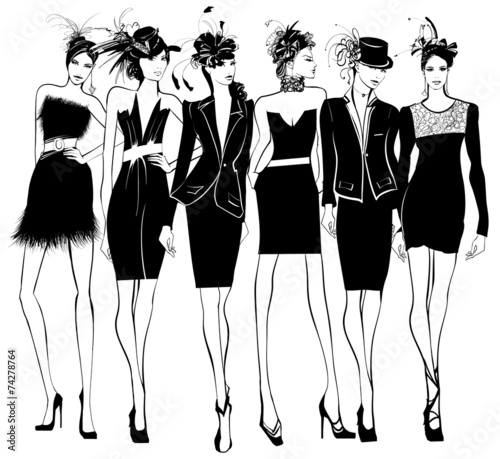 Women fashion models in black dress and feather hat