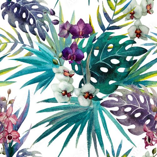 Fototapeta Orchidea rysunkowa akwarela do salonu