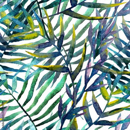Fototapeta Abstrakcyjny wzór liści akwarela na białym tle na zamówienie