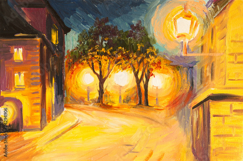 Oil Painting - evening street in Paris