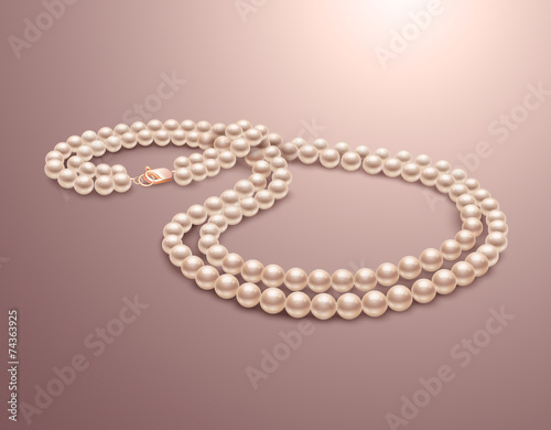 Wallpaper Mural Pearl necklace realistic