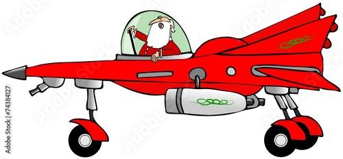Photo Santa in a starfighter