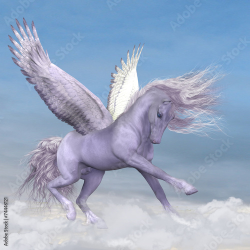 Stampa su Tela Pegasus among the Clouds