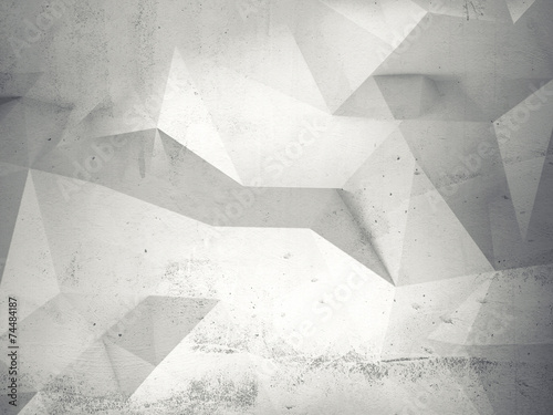 Abstract white 3d interior with polygonal pattern on wall #74484187
