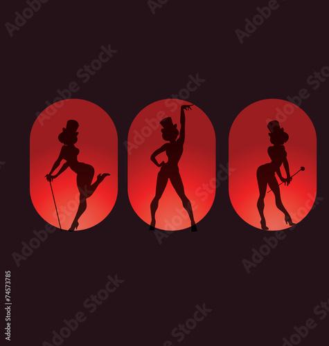 poster design with silhouette cabaret burlesque Fototapet