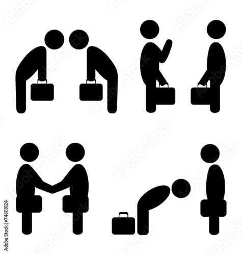 Cuadros en Lienzo Set of greeting etiquette business situation icons isolated on w