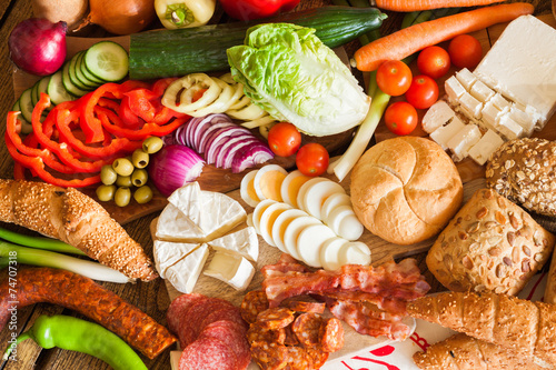Assorted grocery products, top view #74707318