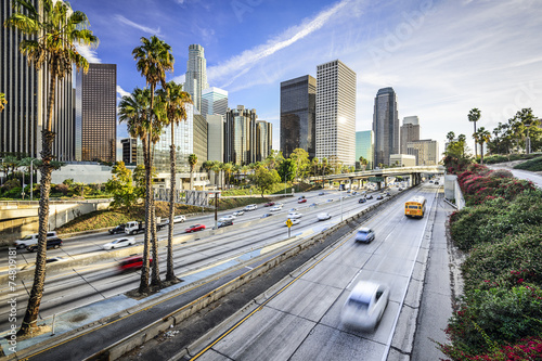 Canvas Print Los Angeles, California Skyline over the Highway